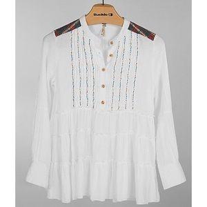•gimmicks BKE• White Beaded Boho Aztec Tunic Top